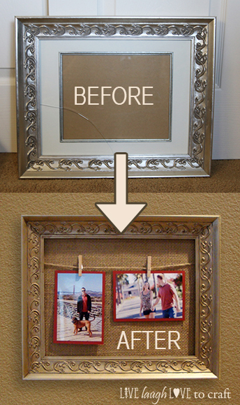 Diy Twine Amp Clothespin Picture Frame Makeover Live Laugh