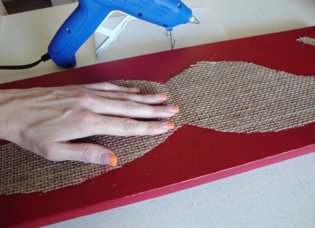 Hot glue burlap to canvas