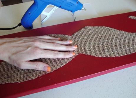 Hot glue burlap to canvas