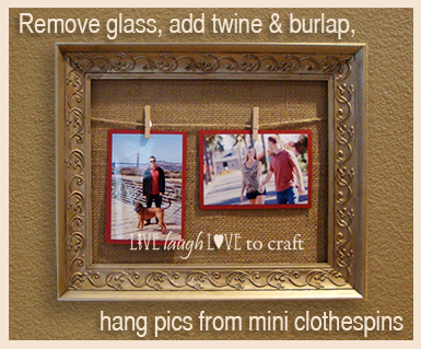 Burlap, twine & picture frame craft