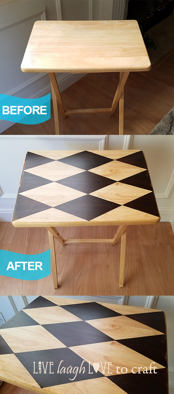 Tv Tray Makeover With Diamond Harlequin Pattern Live