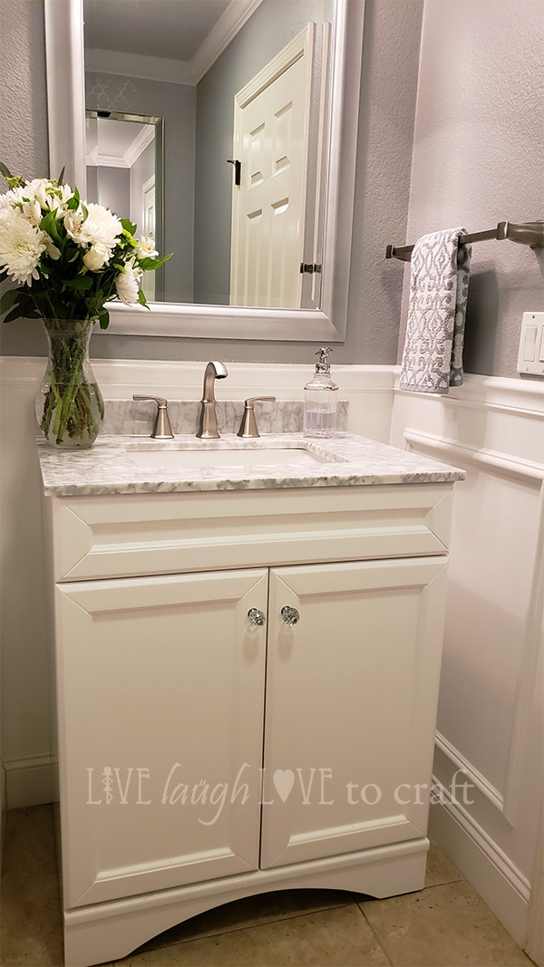 Gray White Powder Room Makeover With Wainscot Wall Live Laugh Love To Craft